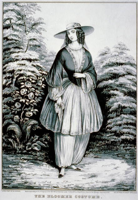 """""""The Bloomer Costume"""" by Currier and Ives, 1851, Library of Congress"""