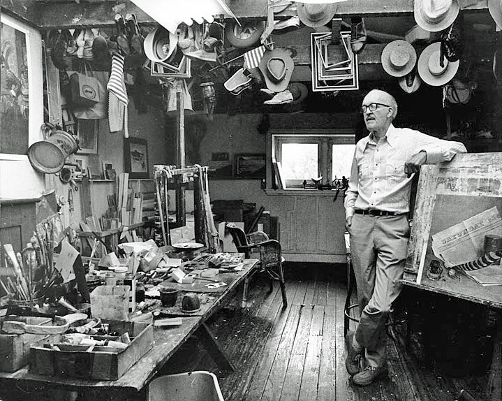 John Falter in his studio, photographed in 1978 by his stepson, Jay Wiley. (Wikipedia Images)